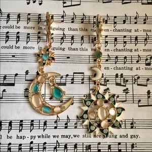 Sun Moon Stars Opal Gold Statement Earrings